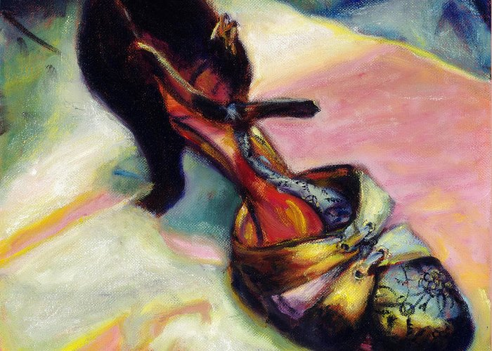 Shoe Greeting Card featuring the painting Florence by Ann Moeller Steverson