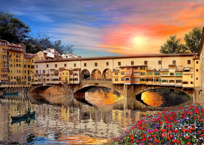 Florence Bridge Greeting Card featuring the digital art Florence Bridge by Dominic Davison