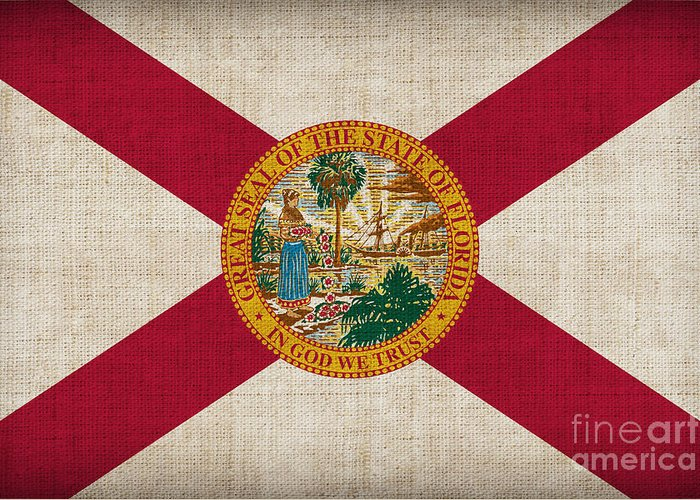 Florida Greeting Card featuring the painting Florida State Flag by Pixel Chimp