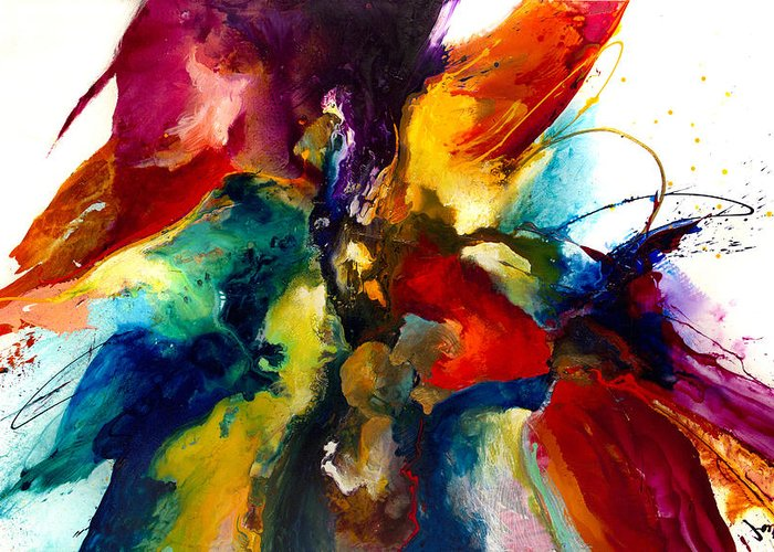 Abstract Greeting Card featuring the painting Flourish IIi by Jonas Gerard
