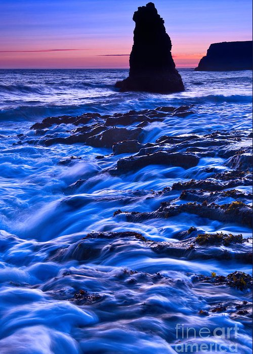 Davenport Greeting Card featuring the photograph Flow - Dramatic Sunset View Of A Sea Stack In Davenport Beach Santa Cruz. by Jamie Pham