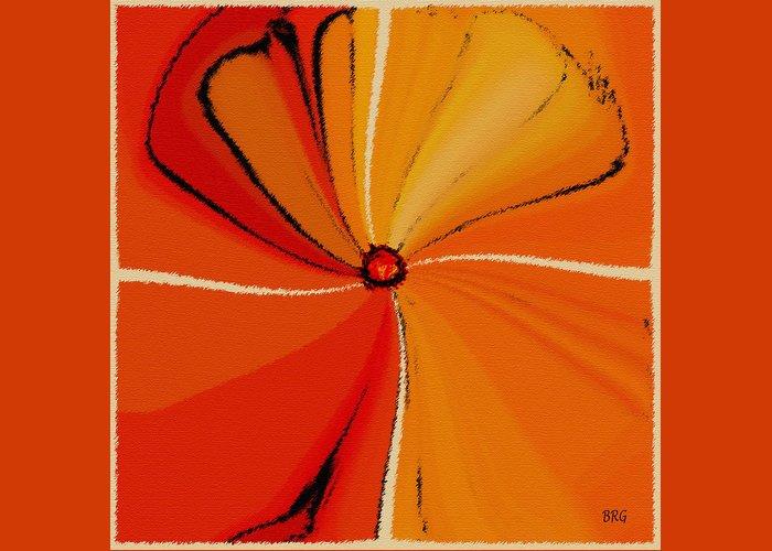 Orange Flower Greeting Card featuring the digital art Flower Arrangement by Ben and Raisa Gertsberg