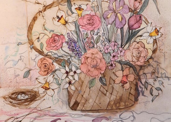 Flower.flowers Greeting Card featuring the painting Flower Basket by Anna Sandhu Ray
