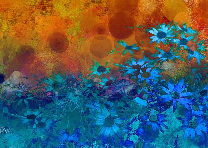 Flower Greeting Card featuring the photograph Flower Fantasy In Blue And Orange by Ann Powell