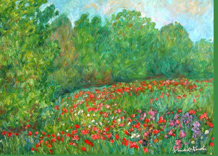 Blue Ridge Paintings Greeting Card featuring the painting Flower Field by Kendall Kessler