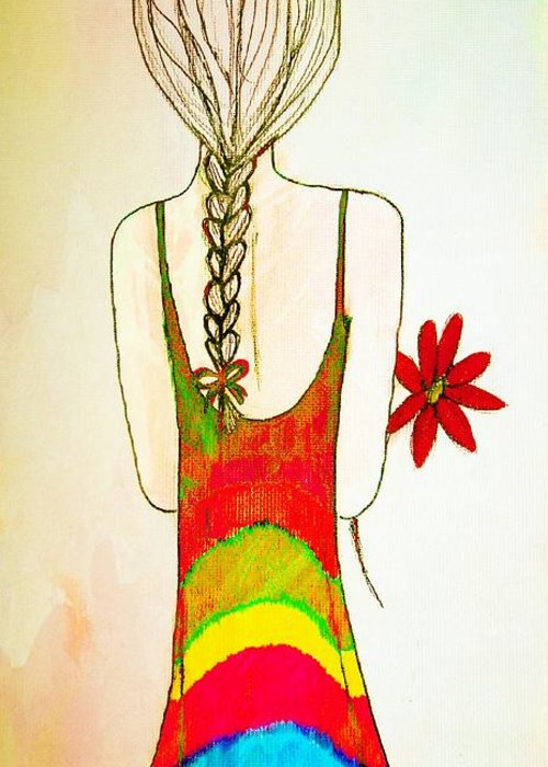 Girl Greeting Card featuring the drawing Flower Girl by Anne Costello