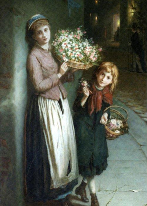 Augustus Edwin Mulready Greeting Card featuring the digital art Flower Girls A Summer Night by Augustus Edwin Mulready