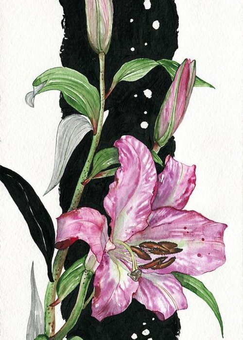 Flower Greeting Card featuring the painting Flower Lily 02 Elena Yakubovich by Elena Yakubovich