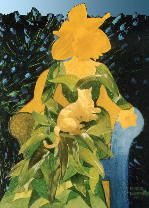 Daffodil Painting On Canvas Greeting Card featuring the painting Flower Lovers by Eve Riser Roberts