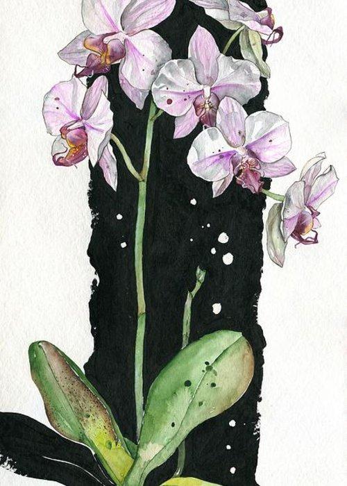 Art Greeting Card featuring the painting Flower Orchid 02 Elena Yakubovich by Elena Yakubovich