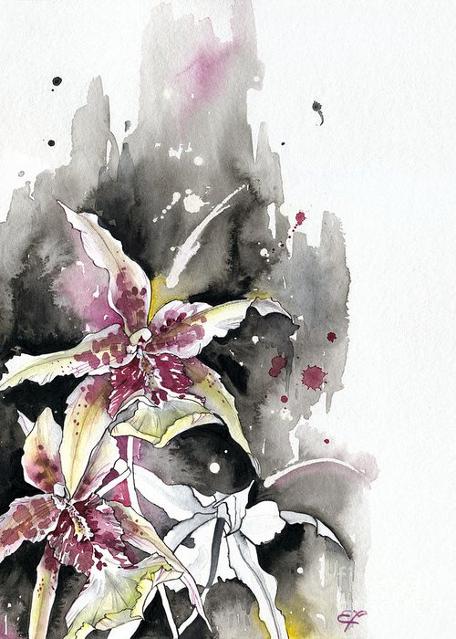 Orchid Greeting Card featuring the painting Flower Orchid 12 Elena Yakubovich by Elena Yakubovich