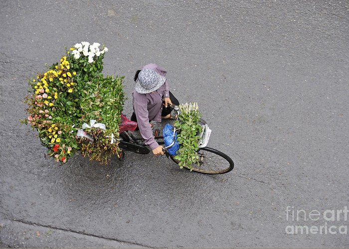 Vietnam Greeting Card featuring the photograph Flower Seller In Street Of Hanoi by Sami Sarkis