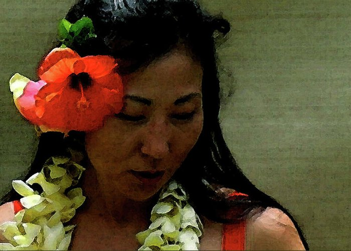 Hula Greeting Card featuring the photograph Flower Sign by James Temple
