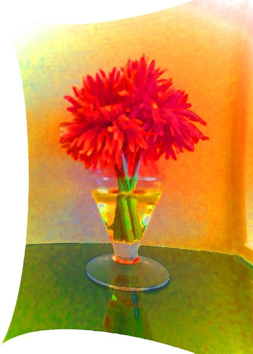Bud Vase With Red Flower Greeting Card featuring the photograph Flower Study #1 by Chris Manners