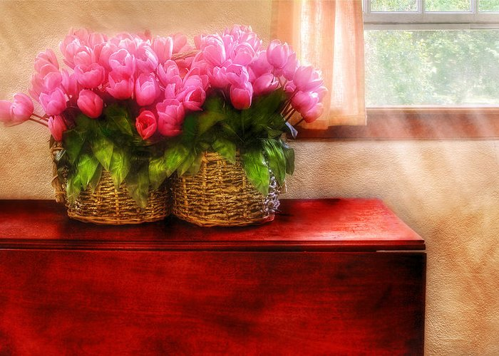 Savad Greeting Card featuring the photograph Flower - Tulips By A Window by Mike Savad
