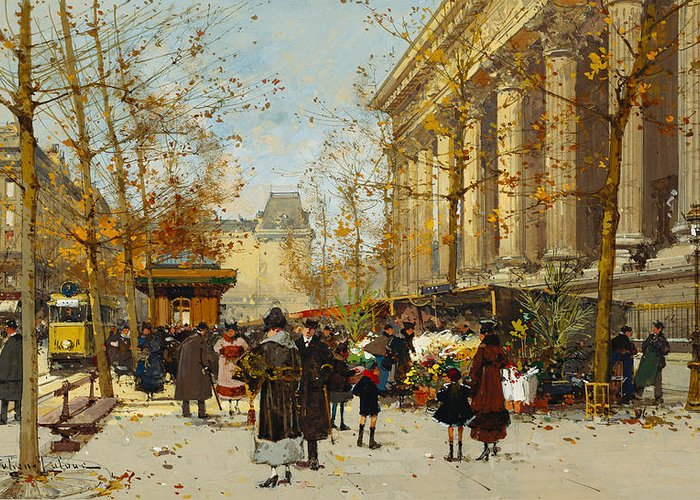 Marche Aux Fleurs Greeting Card featuring the painting Flower Walk by Eugene Galien-Laloue