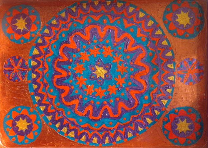 Mandala Greeting Card featuring the painting Flowering Waves Tray by Amy Hassan