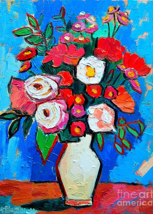 Floral Greeting Card featuring the painting Flowers And Colors by Ana Maria Edulescu