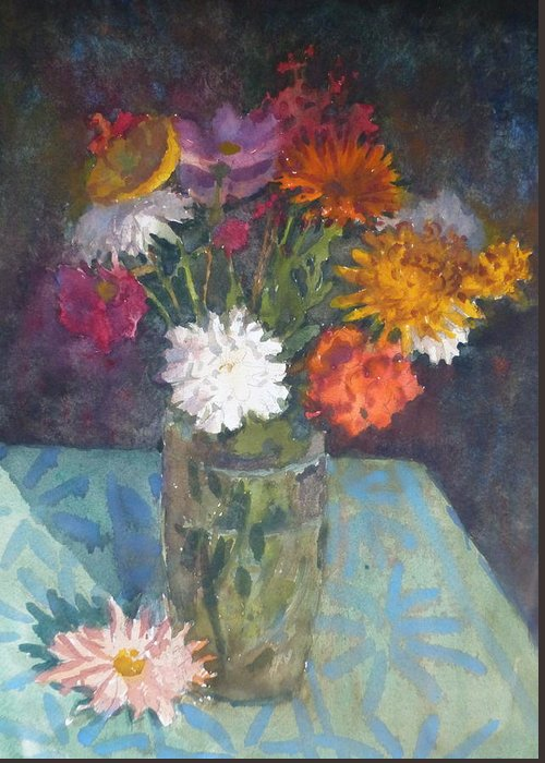 Flowers Greeting Card featuring the painting Flowers And Glass by Terry Perham