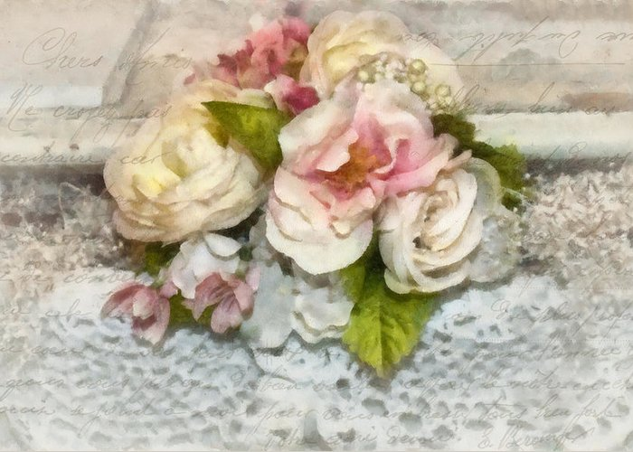 Flowers Greeting Card featuring the photograph Flowers And Lace by Kathy Jennings