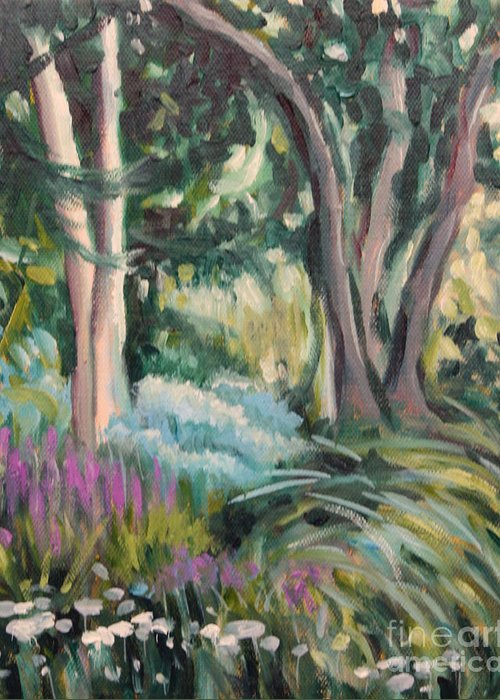Hilary J England Greeting Card featuring the painting Flowers And Shade by Hilary England