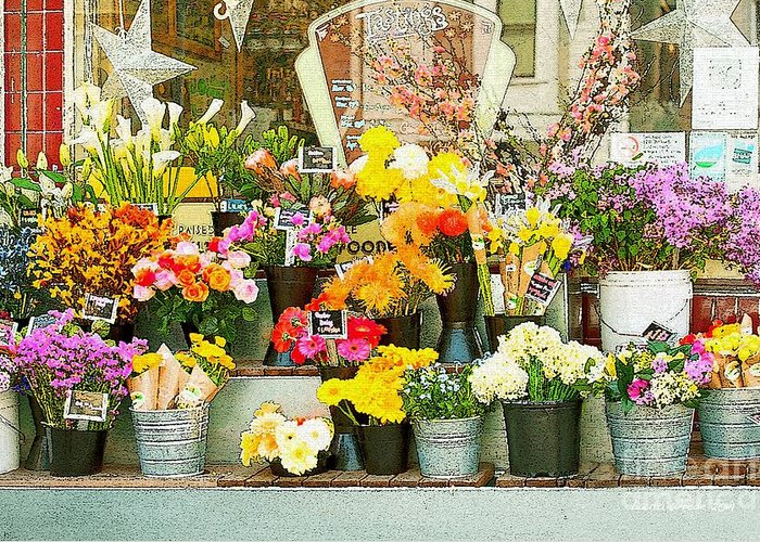 Bi-rite Market In San Francisco Greeting Card featuring the painting Flowers At The Bi-rite Market In San Francisco by Artist and Photographer Laura Wrede