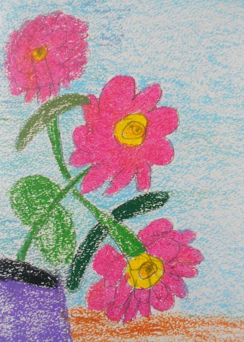 Oil Pastel Paints Greeting Card featuring the pastel Flowers by Epic Luis Art