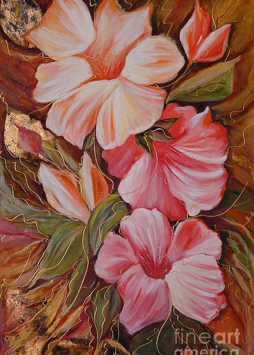 Abstract Greeting Card featuring the painting Flowers II by Silvana Abel