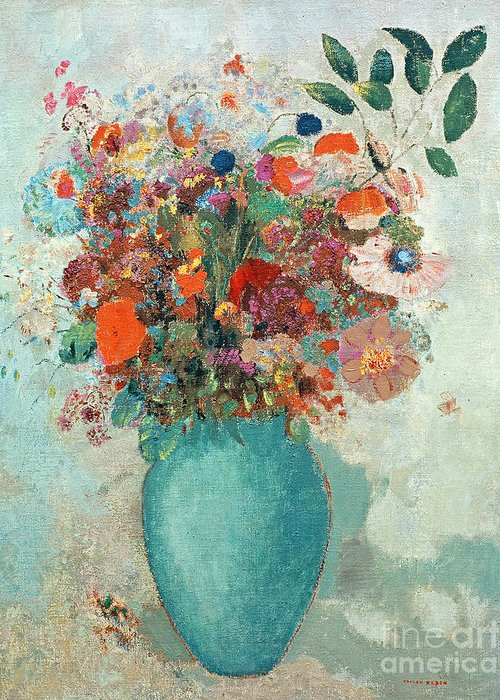 Flower; Floral Arrangement; Still Life; Symbolist Greeting Card featuring the painting Flowers In A Turquoise Vase by Odilon Redon