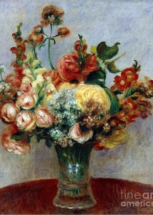 Art; Painting; 19th Century Painting; Europe; France; Renoir Pierre-auguste; Flowerpot; Still-life; Impressionism Greeting Card featuring the painting Flowers In A Vase by Pierre-Auguste Renoir