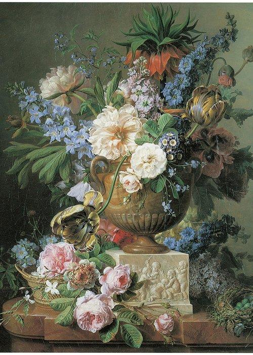 Gerard Van Spaendonck Greeting Card featuring the painting Flowers In An Alabaster Vase by Gerard Van Spaendonck