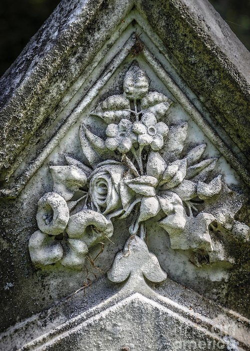 Closeup Greeting Card featuring the photograph Flowers On A Grave Stone by Edward Fielding