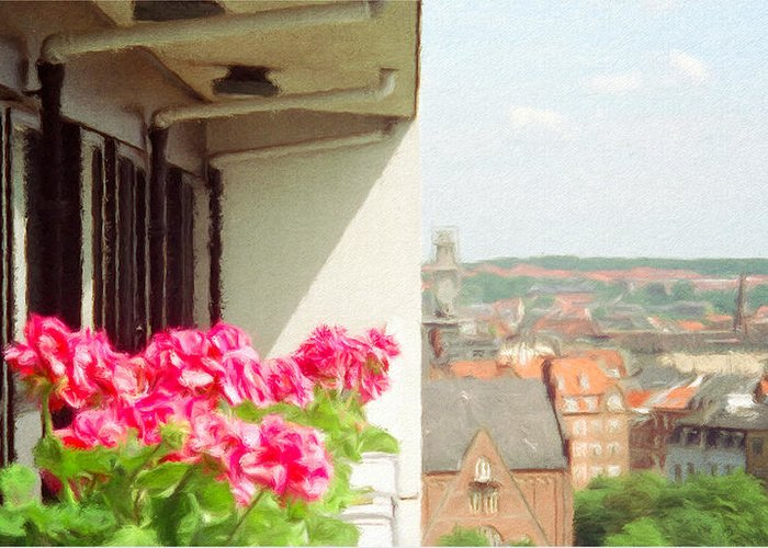 Aarhus Greeting Card featuring the painting Flowers On The Balcony by Jeff Kolker