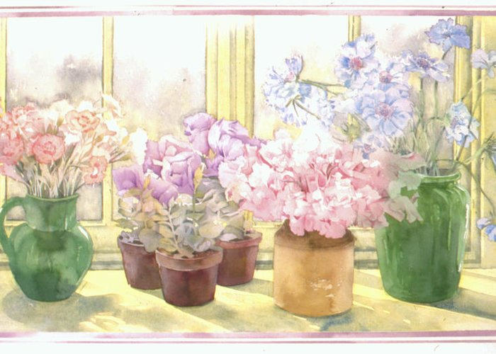 Julia Rowntree Greeting Card featuring the photograph Flowers On The Windowsill by Julia Rowntree