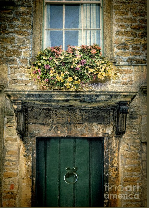 Flowers Greeting Card featuring the photograph Flowers Over Doorway by Jill Battaglia