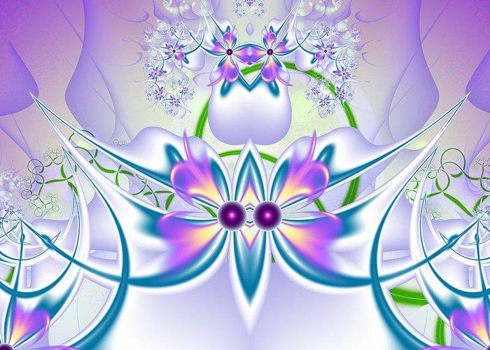 Fractal Greeting Card featuring the digital art Flowers Pattern by Igor Sinitsyn