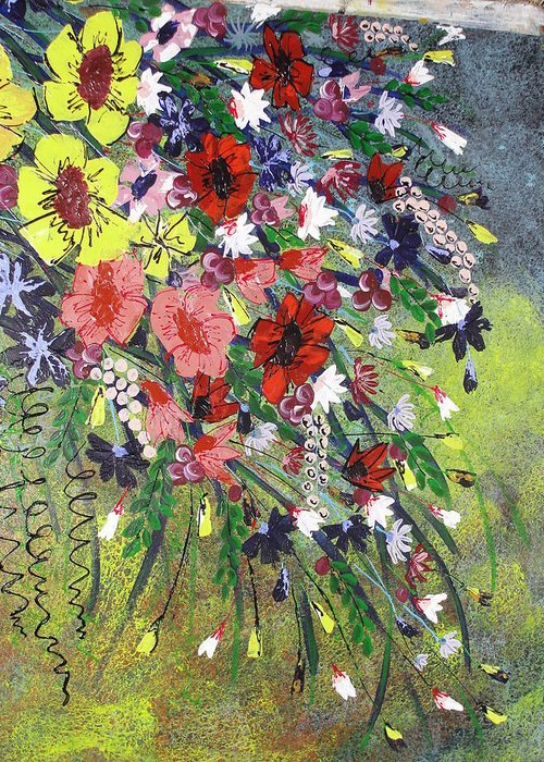 Pallet Knife Greeting Card featuring the painting Flowers by Shilpi Singh
