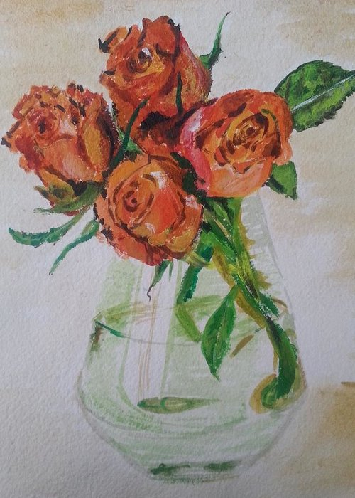 Rose Greeting Card featuring the painting Flowers by Vidya Vivek