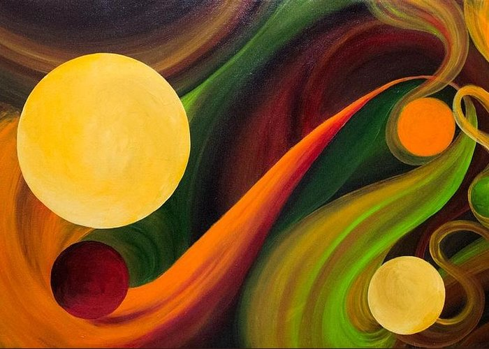 Cirlces Greeting Card featuring the painting Fluidic Lucidity by Laura Swink