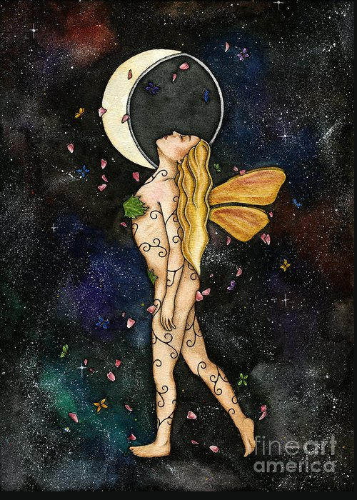 Faerie Greeting Card featuring the painting Fly By Night by Nora Blansett