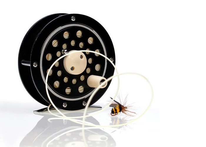 Black Greeting Card featuring the photograph Fly Fishing Reel With Fly by Tom Mc Nemar