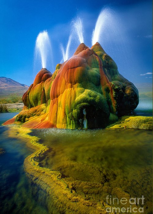 Fly Geyser Greeting Card featuring the photograph Fly Geyser Travertine by Inge Johnsson