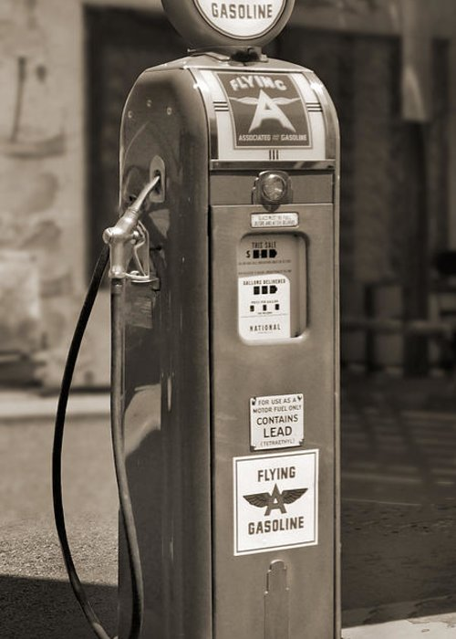 Flying A Gasoline Greeting Card featuring the photograph Flying A Gasoline - National Gas Pump 2 by Mike McGlothlen