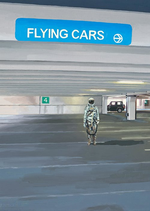 Astronaut Greeting Card featuring the painting Flying Cars to the Right by Scott Listfield