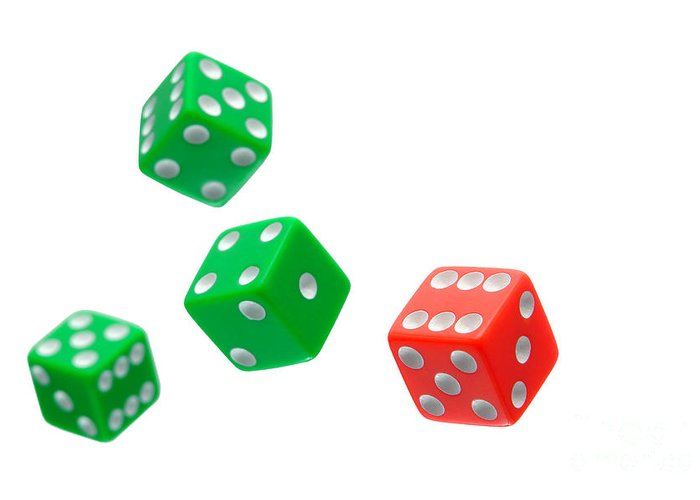 Craps Greeting Card featuring the photograph Flying Craps Dice by Olivier Le Queinec