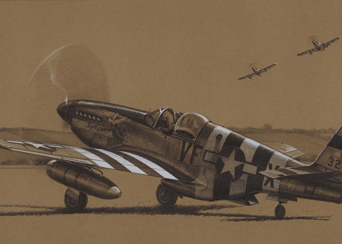 P-51 Mustang Greeting Card featuring the drawing Flying Dutchman by Wade Meyers