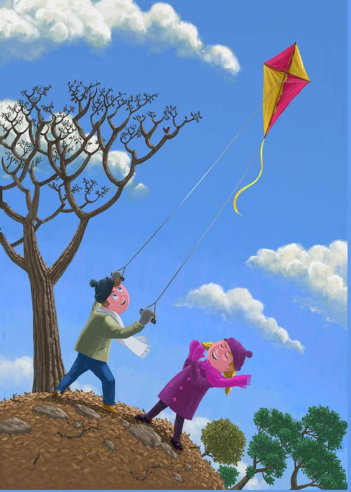 Kite Greeting Card featuring the painting Flying Kite On Windy Day by Martin Davey