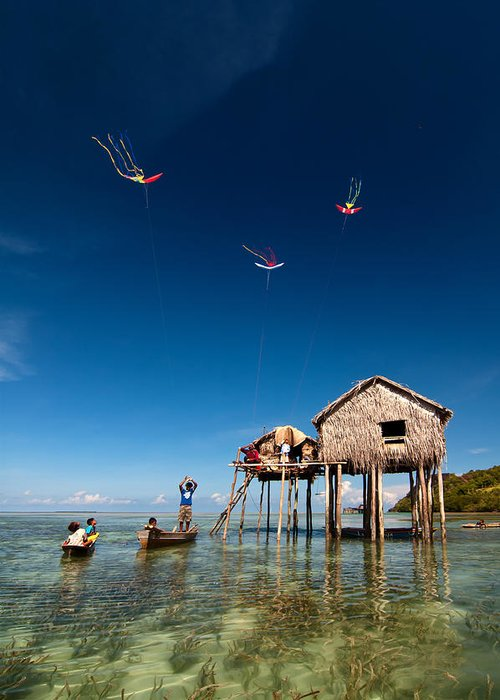 Flying Greeting Card featuring the photograph Flying Kites by Kim Pin Tan