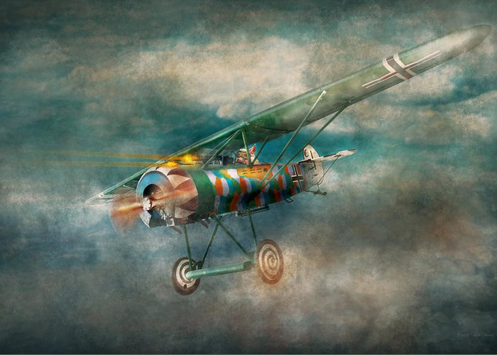 Wwi Greeting Card featuring the digital art Flying Pig - Acts Of A Pig by Mike Savad