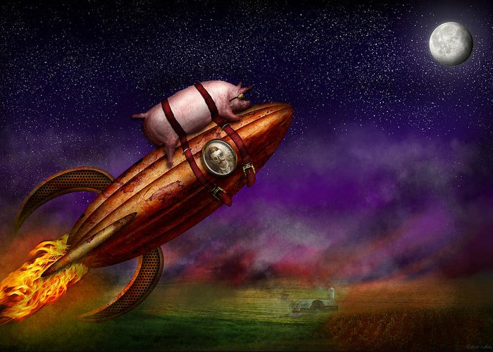 Pig Greeting Card featuring the photograph Flying Pig - Rocket - To The Moon Or Bust by Mike Savad